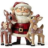"Jim Shore for Enesco Santa Hugging Rudolph & Clarice Figurine, 4.9"""
