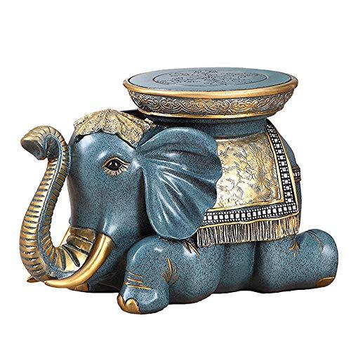 Americana heces ZAPATO Ideas del zapato Gabinete estadounidense puerta casera elefante Animal sala de mesa de te de heces Silla linda (Color : Azul)