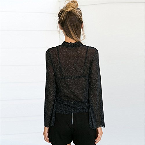 Kukul Camisa de la perspectiva See-through Blouses Flare Sleeve Tops