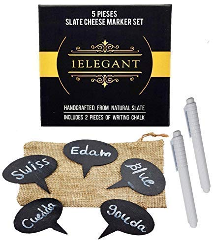 Cheese Markers Set - 5 Chalkboard Labels Made of Natural Slate & 2 Soapstone Chalk Markers, Cheese Name Tags, Labels Food. Great for Party and Dinner - Christmas Gift Idea, Thanksgiving for Mom, Women