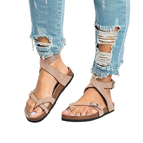 Chenghe Women's Fashion Flat Ankle Buckle Sandals Gladiator Thong Flip Flop Mayari Sandals Beige US 7.5