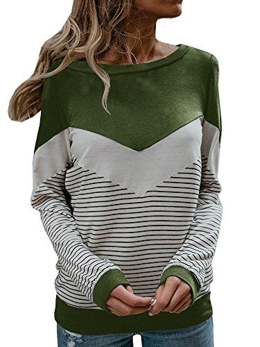 Women's Fall Long Sleeve Striped Tops Crewneck Chevron Casual Lightweight T Shirt Blouses