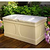Resin Storage Bench Patio Storage Deck Box Slatted Design Rectangular Plastic Big Light Taupe Colour Large Lawn Garden Backyard Weatherproof Resistant Seat & eBook by Easy&FunDeals
