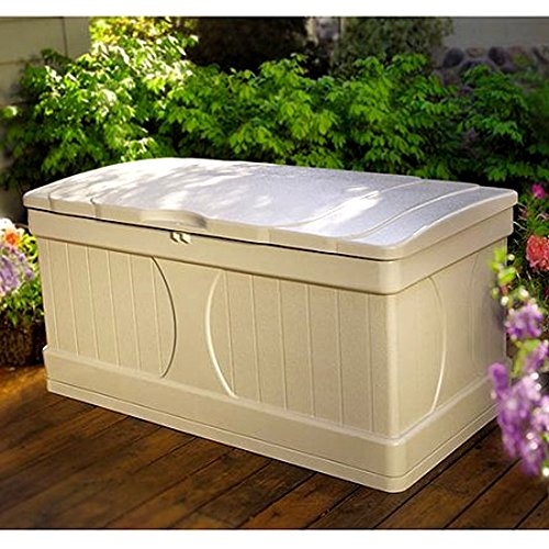 Resin Storage Bench Patio Storage Deck Box Slatted Design Rectangular Plastic Big Light Taupe Colour Large Lawn Garden Backyard Weatherproof Resistant Seat & eBook by Easy&FunDeals by EFD