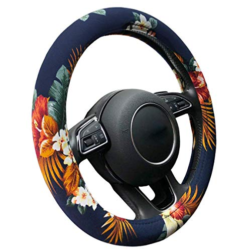 - Auto Car Steering Wheel Cover, Anti Slip Cotton Vehicle Steering Cover with Attractive Flower, Universal 15 Inch for Women Girls Ladies (Hawaii Style, Blue)
