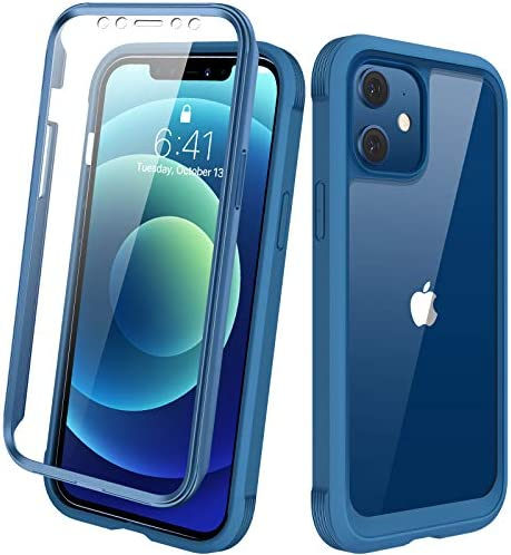 "Diaclara Designed for iPhone 12/12 Pro Case, Full Body Rugged Case with Built-in Touch Sensitive Anti-Scratch Screen Protector, Soft TPU Bumper Case for iPhone 12/12 Pro 6.1"" (Blue and Clear)"