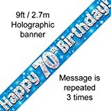 70th Birthday Blue Holographic Banner