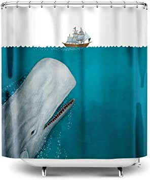 The White Whale Shower Curtain Angry Whale Rammed The Boat Pattern Bath Curtain