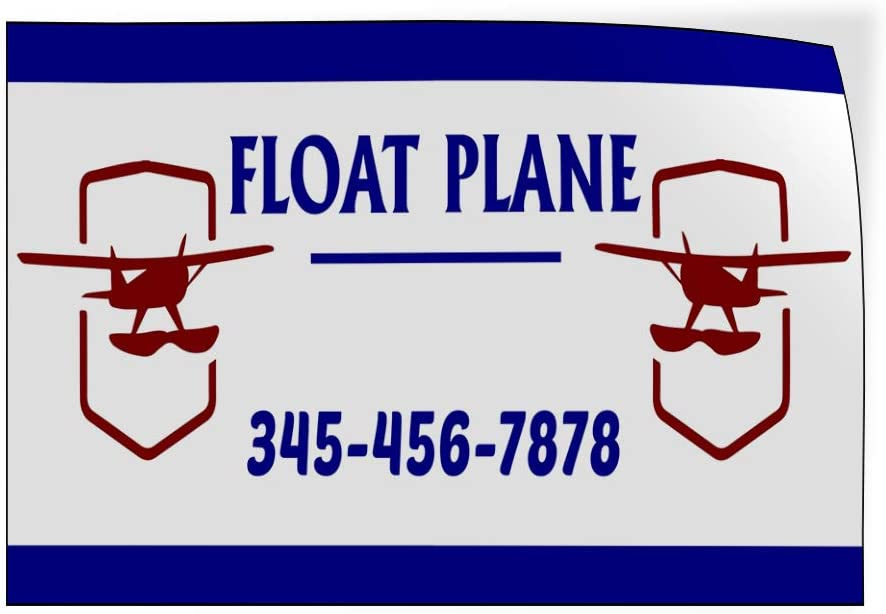 Custom Door Decals Vinyl Stickers Multiple Sizes Float Plane Phone Number Blue Cars /& Transportation Float Plane Outdoor Luggage /& Bumper Stickers for Cars Blue 45X30Inches Set of 5