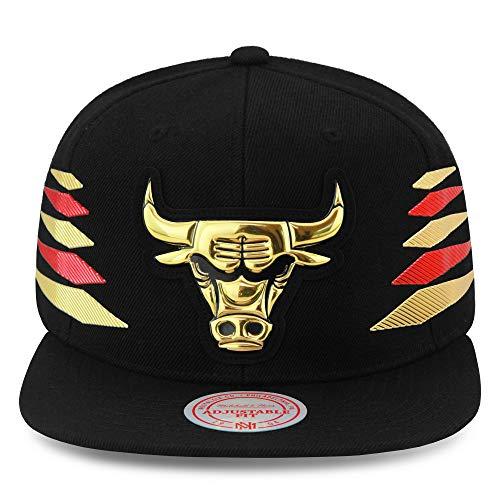 Mitchell & Ness Chicago Bulls Snapback Hat Cap Black/Gold & Red Diamond Side/Metallic Foil (Patent Leather)