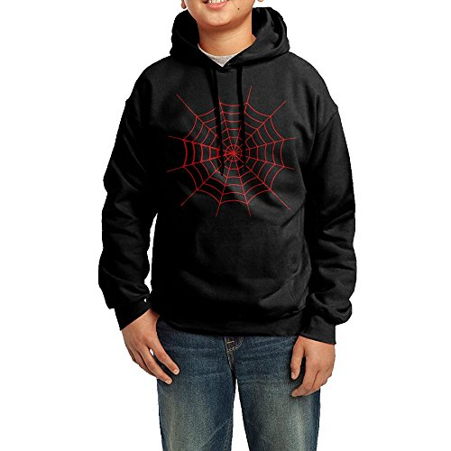 Golden Halloween Spider Web Unisex Print Hoodie Youth Pullover Drawstring Hooded Sweatshirt For Boys (Black Guy Punch Halloween)