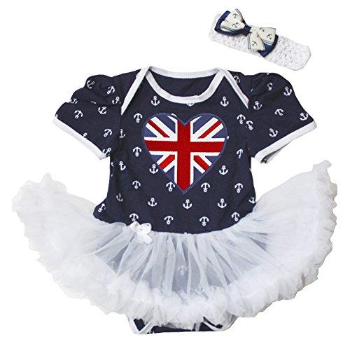 (Baby Dress Union Jack Heart Sailor Anchor Black Bodysuit White Tutu NB-18m (6-12 Months))