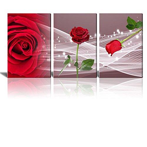 3 Panel Romantic Red Rose x 3 Panels