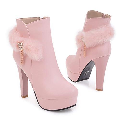 Shirloy Botines tacón Alto para Mujer Plataforma Impermeable Zapato bajo Cremallera Botas para Mujer Botas Piel sintética Piel sintética: Amazon.es: Zapatos ...