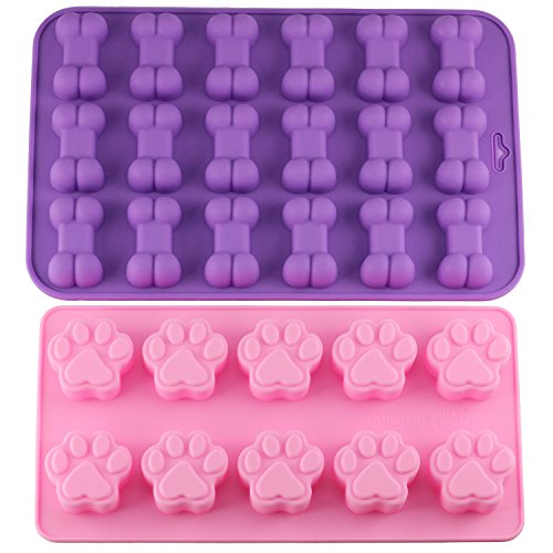 Mujiang Puppy Dog Paw and Bone Trays Silicone Pet Treat Molds, Set of 2]()