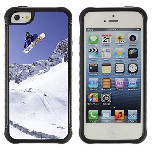Graphic4You Snowboard Winter Sport Snow Mountain Soft Rubber Shock-Proof Anti-Slip Hybrid Gel Case Cover for Apple iPhone SE / 5 / 5S ()