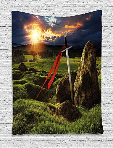 King Tapestry Wall Hanging Arthur Camelot Legend Myth in England Ireland Fields Invincible Myth Image Tapestries Wall Blanket for Living Room Bedroom Dorm Decor 28x24 Inches, Green Blue and Red