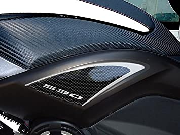 Carbone Argent 2 Adh/ésifs Stickers Gel 3D Compatible pour Scooter Yamaha Tmax 530 Carbone Ergal