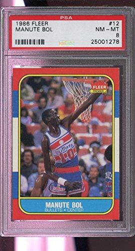 (1986-87 Fleer #12 Manute Bol Bullets NM-MT PSA 8 Graded Basketball Card)