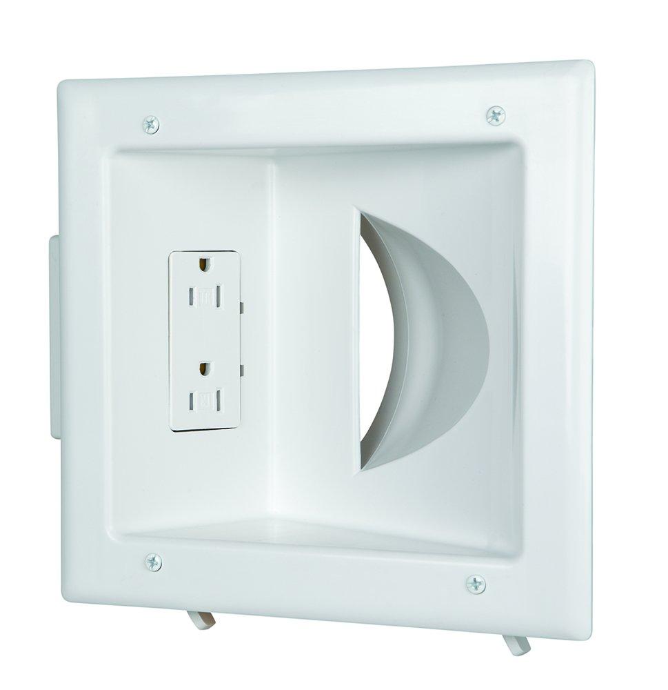Amazon.com: Datacomm 45-0031-WH Recessed Low Voltage Media Plate ...