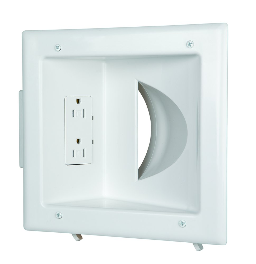 Datacomm 45-0031-WH Recessed Low Voltage Media Plate with Duplex Receptacle, White