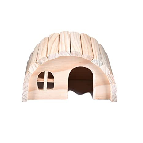 Rejoicing Hamster House Lovely Pequeño Animal Hideout Hamster Casa Madera Caseta Masticar Juguetes Juguetes Exquisita Casa