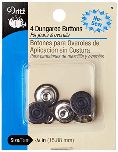 Dritz 9 No-Sew Dungaree Buttons, Copper, 5/8-Inch 4-Count