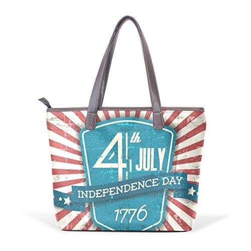 COOSUN Día de la Independencia grandes mango de cuero Bolsa de hombro bolsa de asas de mano de PU M (40x29x9) cm muticolour