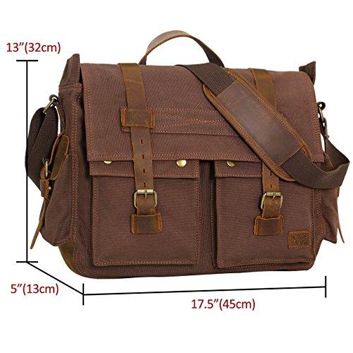 Wowbox 17.3 Inch Men's Messenger Bag Vintage Canvas ...