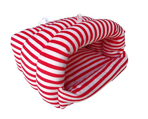 WOWOWMEOW Guinea-Pigs Bed,Hamster Bed,Small Animals Warm Hanging Cage Cave Bed (M, Striped-Red/White)