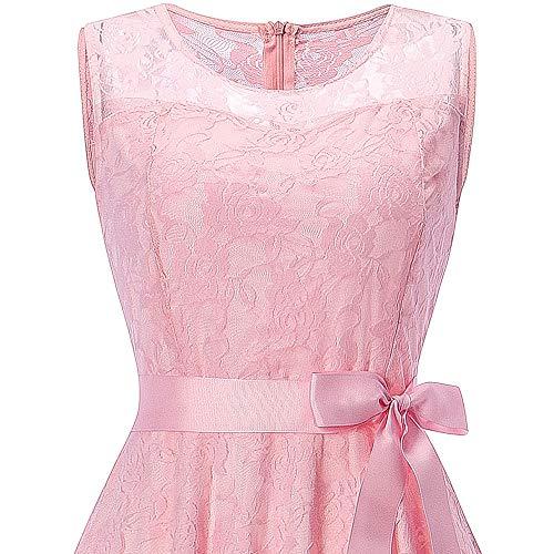 (iYBUIA Womens Sleeveless Formal Ladies Wedding Bridesmaid Lace Long Dress Best for Bridesmaid)