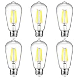 Ascher E26 LED Light Bulbs, 6W, Equivalent 60W, 800lm, Daylight White 5000K, ST58 Edison Bulb, Vintage Filament Clear Glass, Non Dimmable, Pack of 6