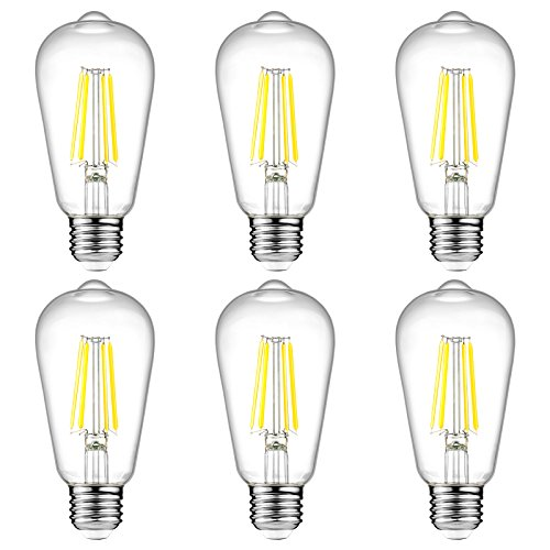 Ascher E26 LED Light Bulbs, 6W, Equivalent 60W, 800lm, Daylight White 5000K, ST58 Edison Bulb, Vintage Filament Clear Glass, Non Dimmable, Pack of 6 (6 Light 60w Pendant)