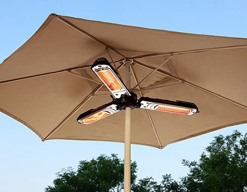 Hiland HLI-1P Electric Parasol Umbrella Patio Heater, 1500 Watts, IP Certified Water Proof, Variable Heat Output, Black