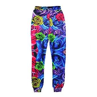 Cool joggers Blue Rose Flower Sport sweatpants for men/women hip hop trousers (S)