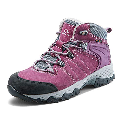 Clorts Women's Hiker Leather Waterproof Hiking Boot Outdoor Backpacking Shoe Purple HKM-822E US7