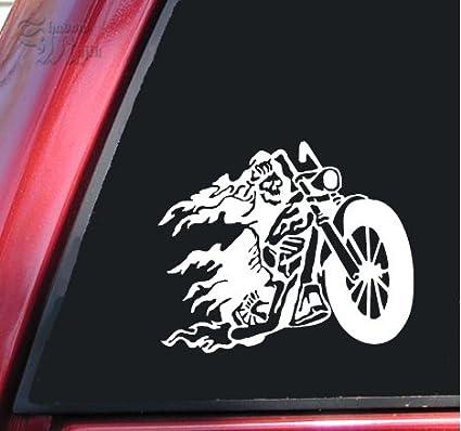 Amazon Ghost Rider Flaming Death Chopper White Vinyl Decal