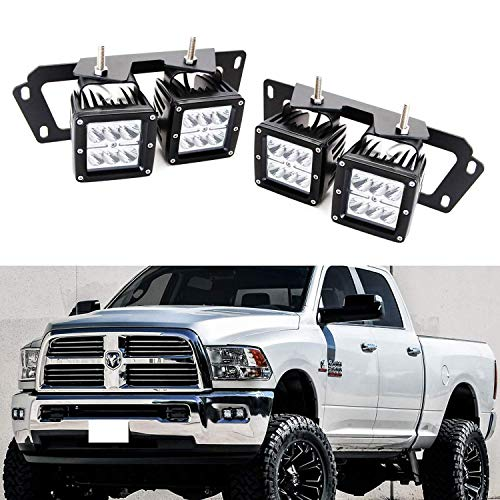 iJDMTOY LED Pod Light Fog Lamp Kit For 2009-12 Dodge RAM 1500 & 10-up Dodge RAM 2500 3500, Includes (4) 24W High Power 2x3 CREE LED Cubes, Foglight Location Mount Brackets & Wiring/Adapter Harnesses
