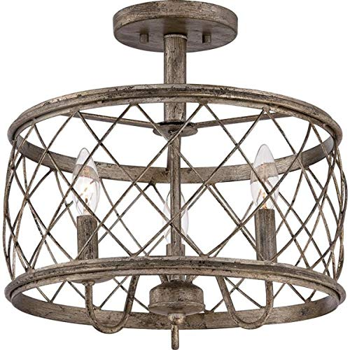 Dia15.57 Inch Trellis Cage Semi Flush Mount Ceiling Light - 3 Light Openwork Lantern Industrial Style Antique Mesh Wire French Country Lamp (Aged Silver)