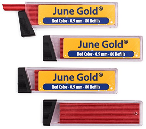 June Gold 320 Red Colored Lead Refills, 0.9 mm, Bold Thickness for Moderate Use, Break Resistant with Convenient Dispensers
