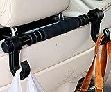 Zento Deals Multifunction Car Back Seat Hook/Hanger - Black w/two sided hangers