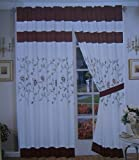 A Pair of Brushed Microfiber with Embroidery Window Curtains / Drapes / Panels with Sheer Lining Set 120×84″ (Wxh) (Beige / Burgundy) For Sale