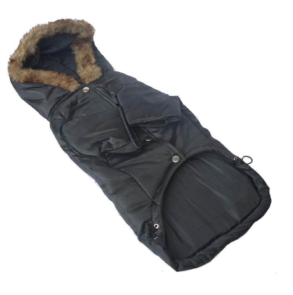 BLACK L BLACK L LLYU Pet Clothing Large Dog Coat Hooded Jacket Winter wear Large Dog pet Warm Clothes (color   Black, Size   L)