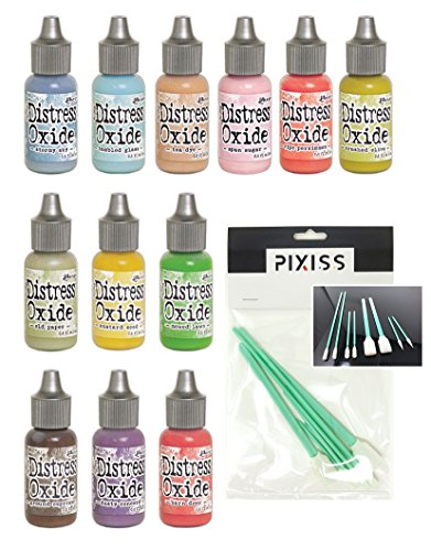 Tim Holtz Distress Oxide Ink Reinkers Summer 2018 Colors with 8 Pixiss Ink Blending Tools ()