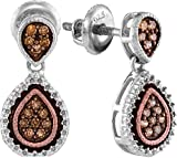 925 Sterling Silver Rose Gold-Plated Round Chocolate Brown Diamond Pear Halo Channel Set Dangle Earrings (1/5 cttw)
