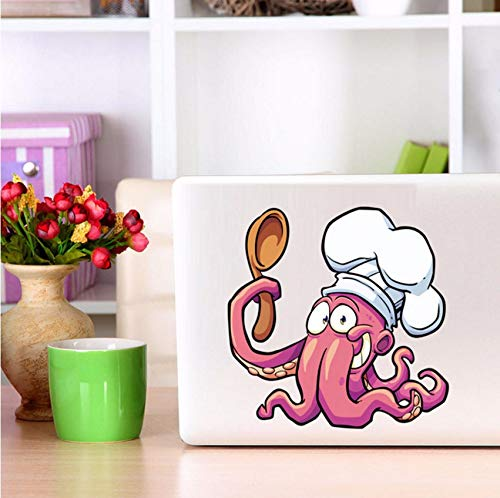 fushoulu Colorful Octopus Chef Holding Spoon Cooking Gift Idea Car Bumper Vinyl Sticker Laptop Decal Removable Waterproof Wallpaper