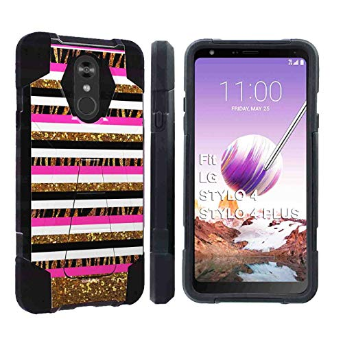 Chevron Zebra - [SlickCandy] LG Stylo 4 / Stylo 4 Plus [Black] Advance Rugged Defender Armor Kickstand Case Feature Hybrid Shell Kickstand for LG Stylo 4LG Stylo 4 Plus [Chevron Zebra Print]