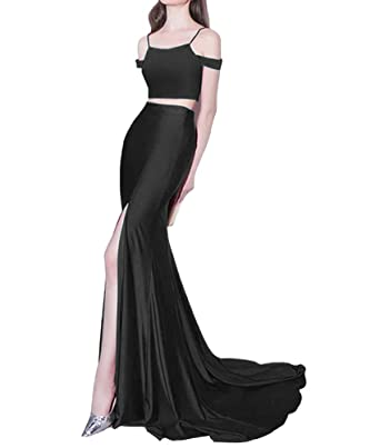 Romantic Mermaid Long Two Piece Prom Dresses Drop Shoulder Side Slit Party Gowns