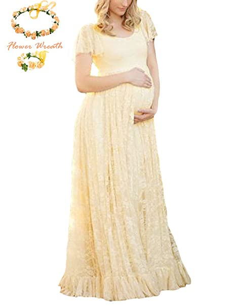 6e7856b618 Lace Baby Shower Maternity Bridal Gown Photography Props Short Sleeve Maxi  Dress Plus (3XL