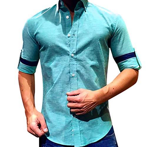 - Rakkiss_Men Shirts Fashion Solid Business Baggy Blouse Cotton Linen Button Retro Tee Long Sleeve Summer Tops Blue